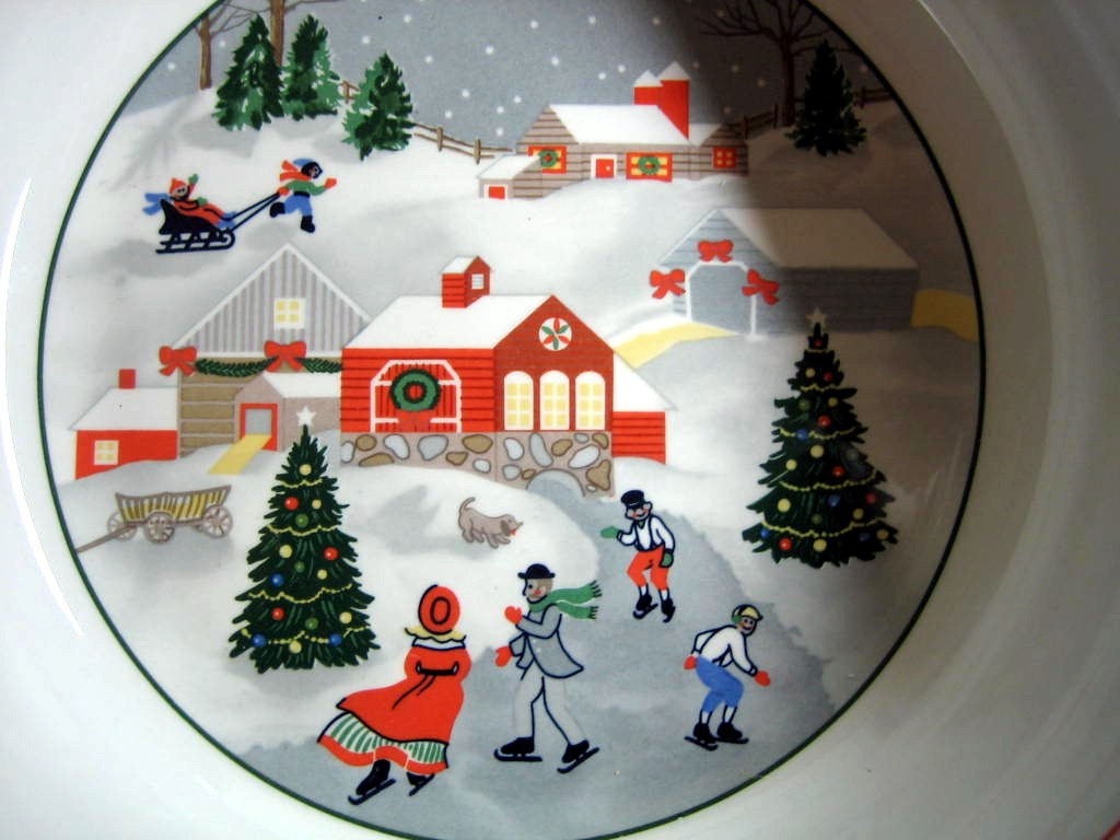 Charming Homespun Christmas Skating Trio Large Serving Bowl Center www.DecorativeDishes.net