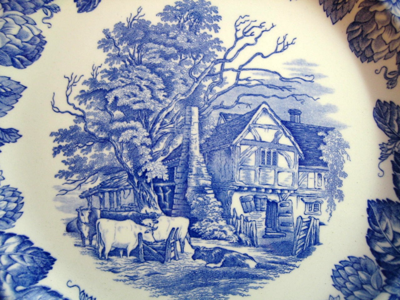 Blue Toile Transferware English Farm House Cows Leaf Edge Plate Center www.DecorativeDishes.net