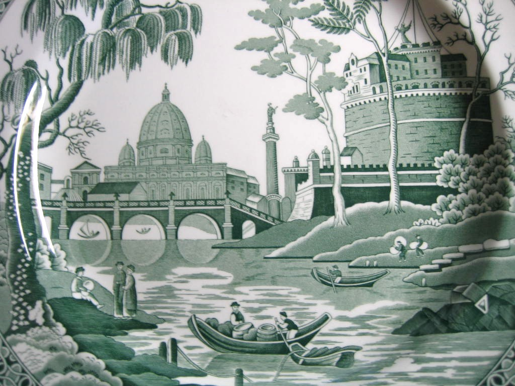 Hunter Green Toile Transferware Exotic Palm River Temple Plate Center www.DecorativeDishes.net