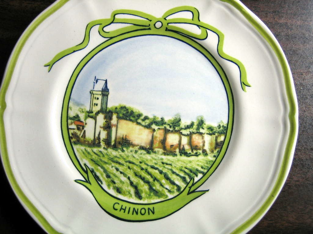 Sweet Chinon Winery French Green Bow Mini Small Plate Center www.DecorativeDishes.net