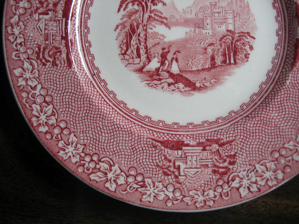 Red Pink Toile Transferware Old Castle Woman Parasol Vine Small Plate Edge www.DecorativeDishes.net