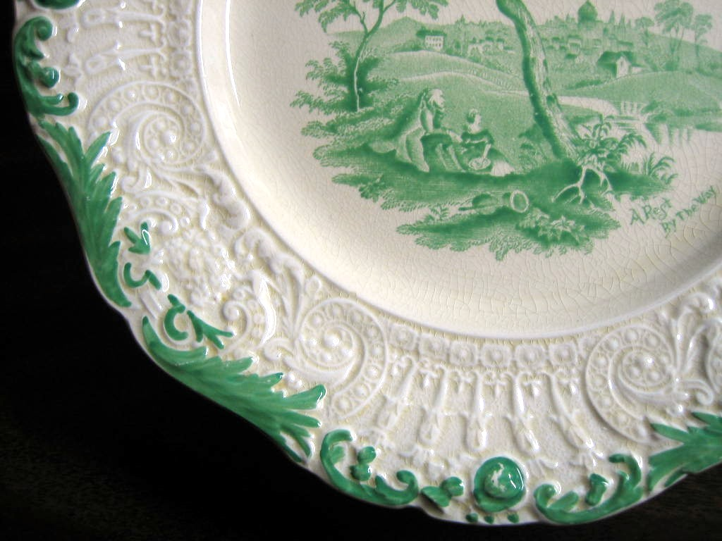 Shabby Green Cream Antique Toile Picnic Textured Edge Plate L1 Edge www.DecorativeDishes.net
