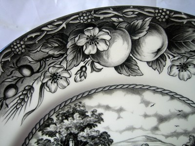 Black Toile Transferware Horse Dog Fruit Medium Plate Edge www.DecorativeDishes.net