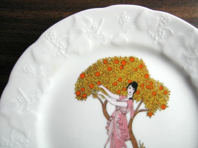 Decorative Plate - French Art Nouveau Lady Orange Tree Pink Dress