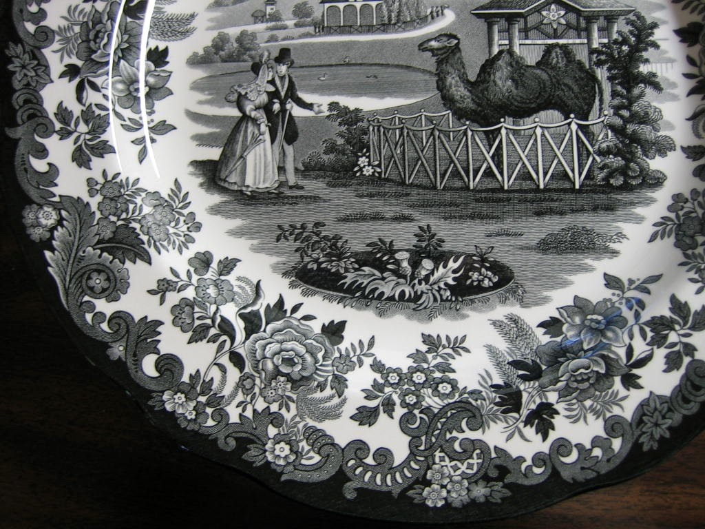 Black White Transferware Toile Victorian Couple Zoo Camel Plate Edge www.DecorativeDishes.net