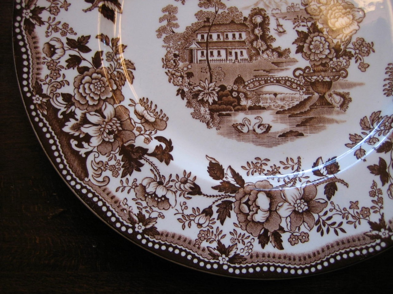 Brown Transferware Chinoiserie Swan Roses Vintage Plate L Edge www.DecorativeDishes.net