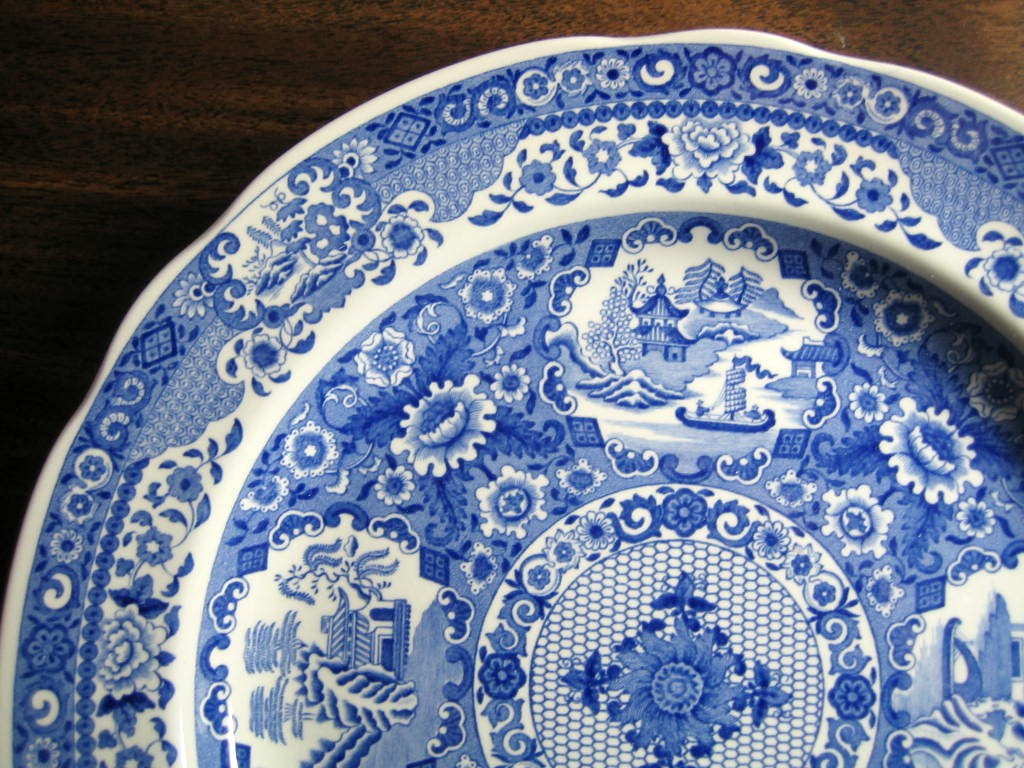 Blue White Transferware Chinoiserie Exotic Asian Medallion Plate Edge www.DecorativeDishes.net