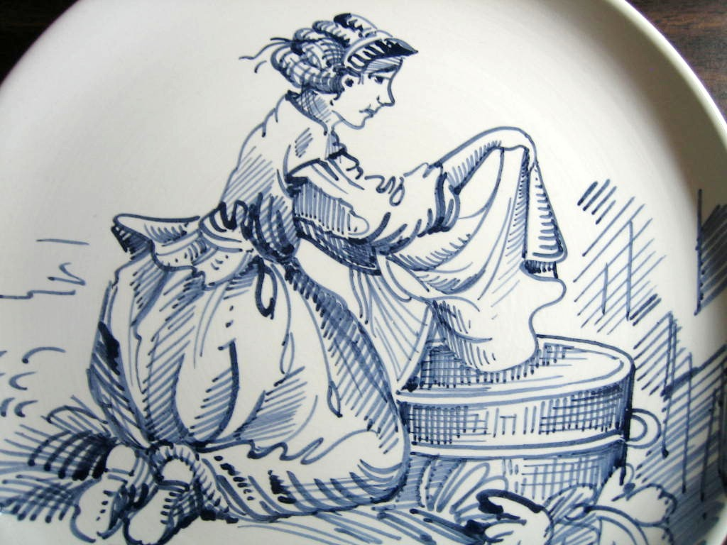 Blue Hand Drawn Washer Woman Made in Italy Plate Ethan Allen