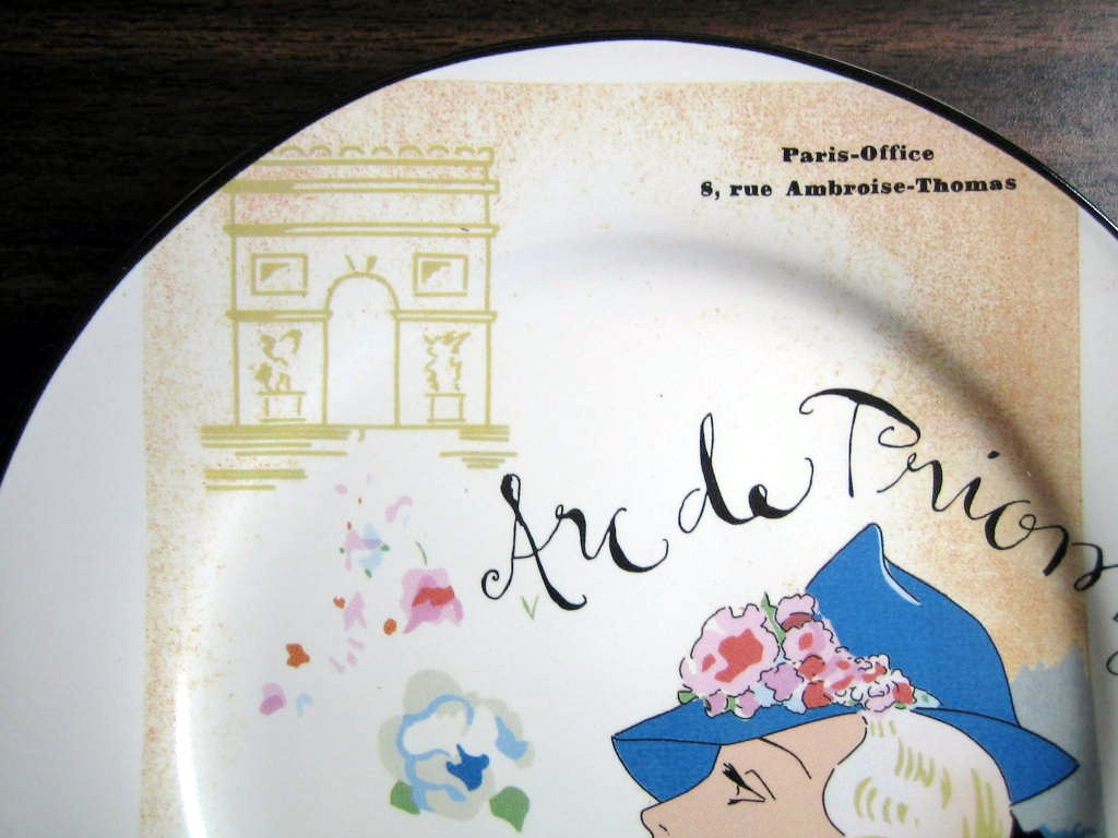 Vintage Whimsical Rosanna Arc de Triomphe Blue Hat Lady Plate Edge www.DecorativeDishes.net