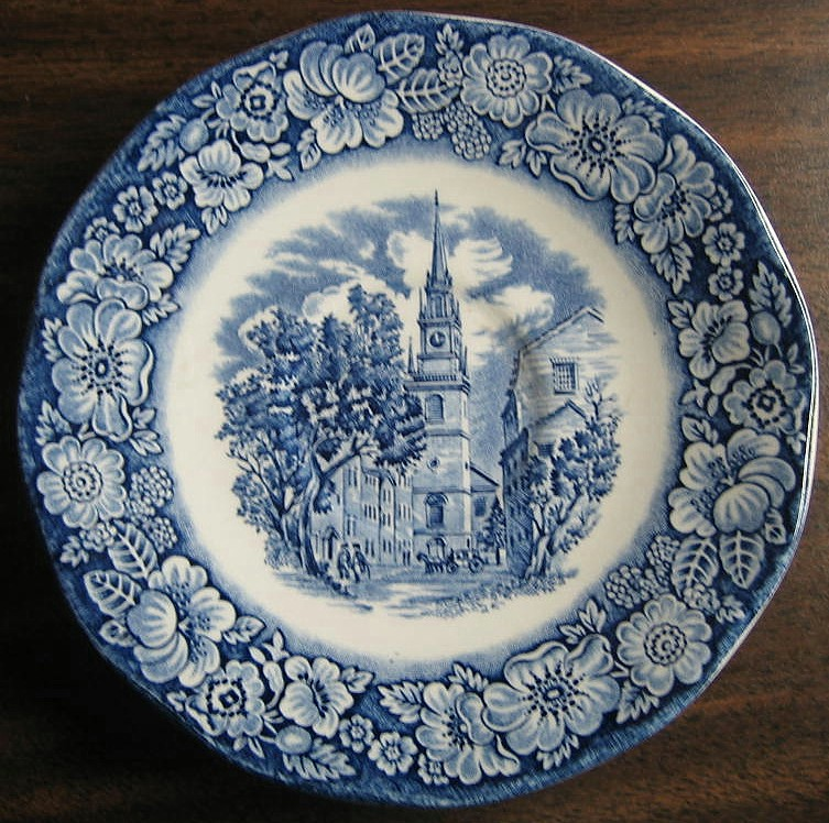 Cobalt Blue Toile Transferware Paul Revere Cup and Saucer Edge www.DecorativeDishes.net