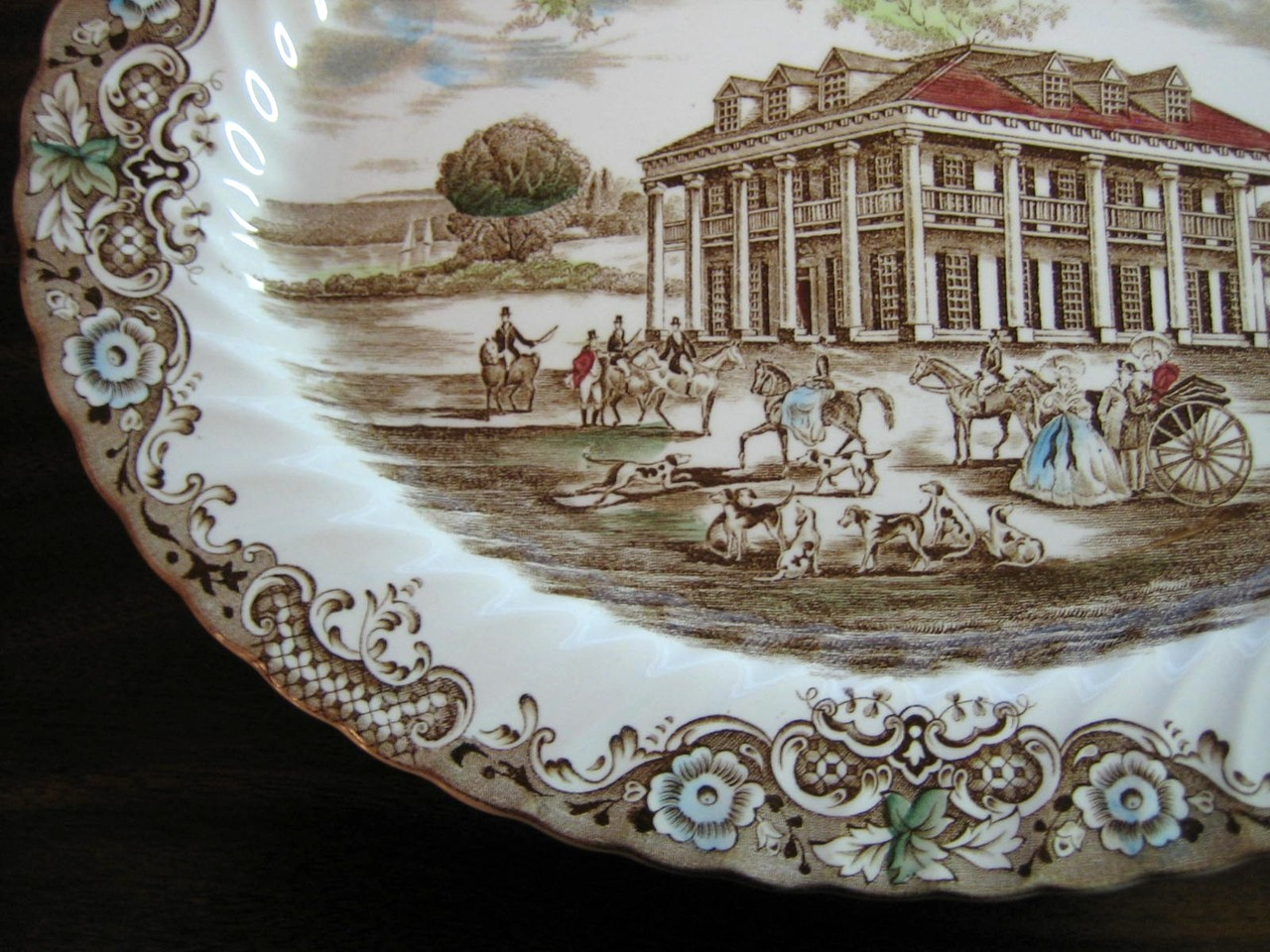 Brown Toile Southern Belle Spanish Moss Mansion Dogs Horse Large Platter