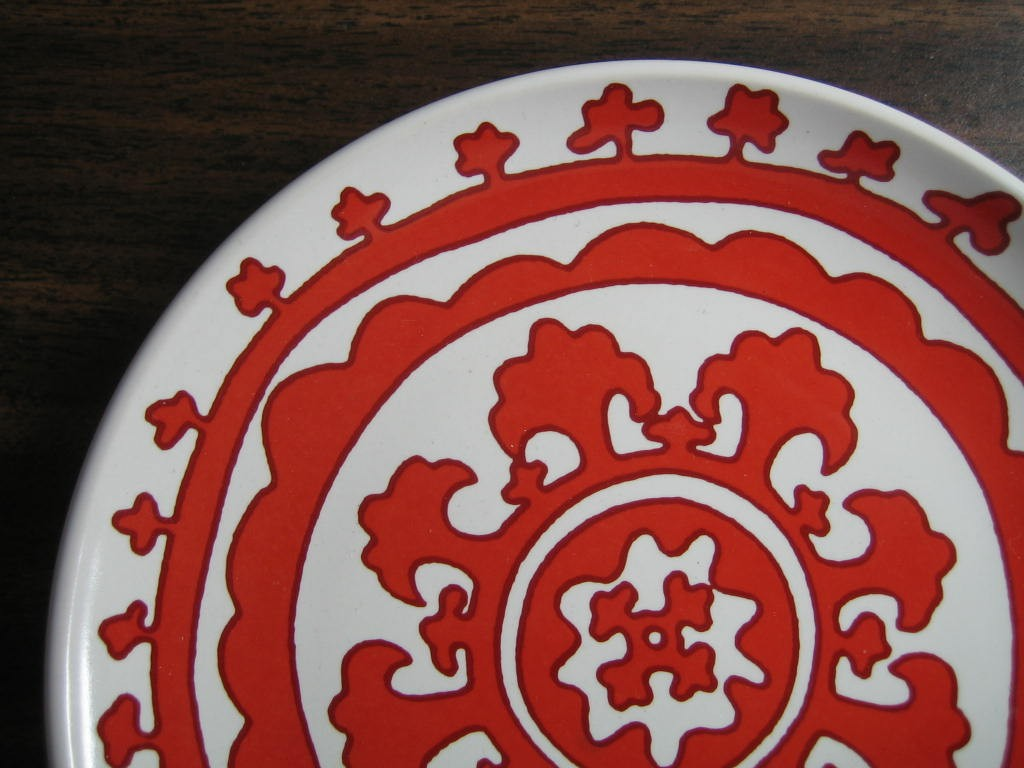 Mini Bold Red on White Moorish Medallion Chic Scroll Plate