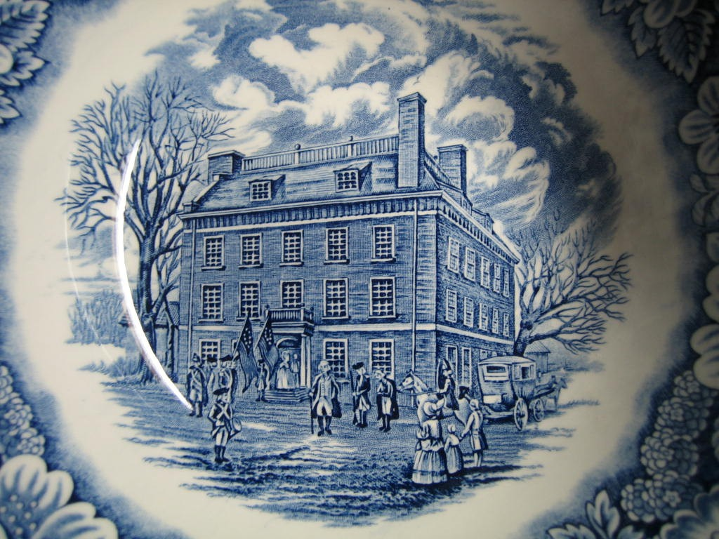 Cobalt Blue Toile Transferware Colonial Tavern NYC Large Bowl Center www.DecorativeDishes.net