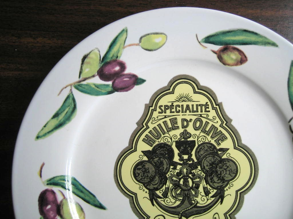 Vintage Olive Oil Label AIX Black Olives Medium Plate Edge www.DecorativeDishes.net