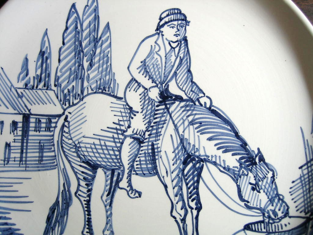 Blue Hand Drawn Boy with Horse Made in Italy Plate Ethan Allen Center www.DecorativeDishes.net