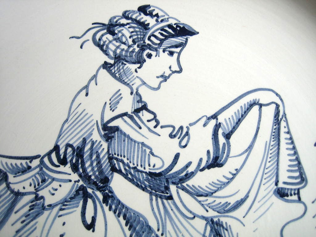 Blue Hand Drawn Washer Woman Made in Italy Plate Ethan Allen Center www.DecorativeDishes.net
