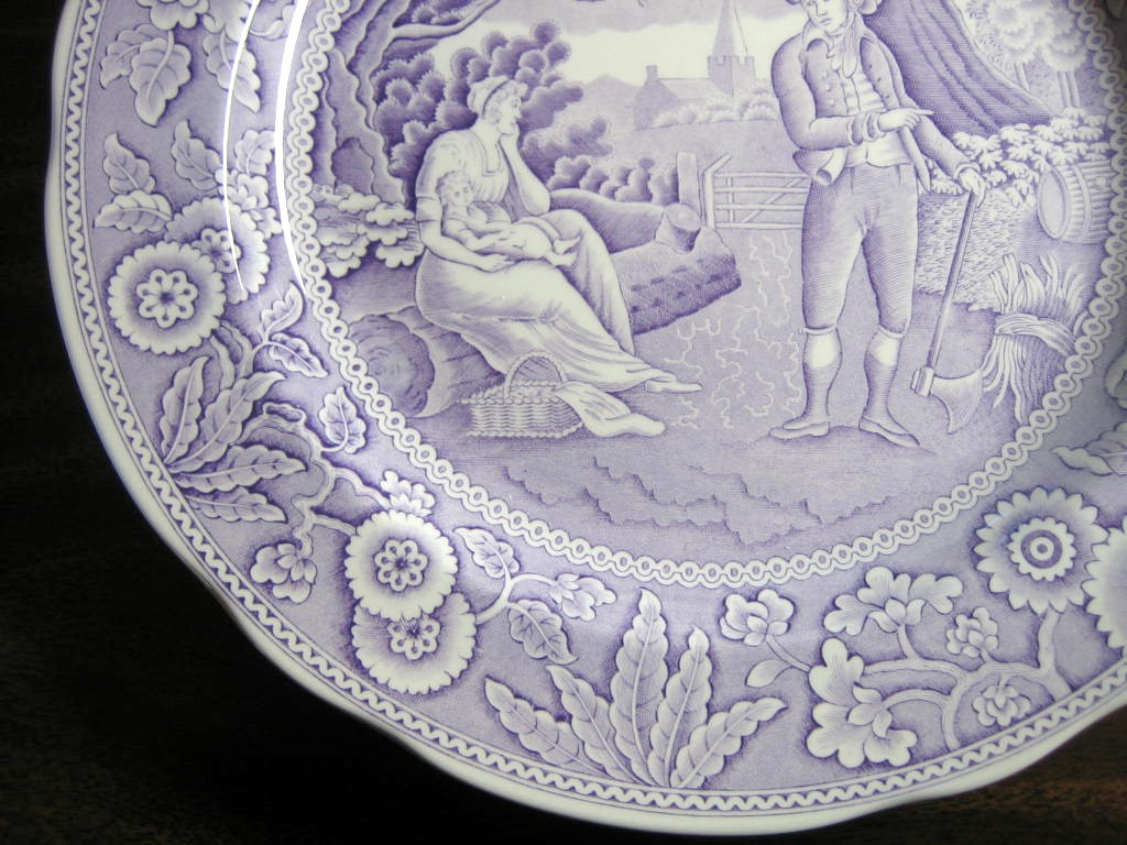 Lavender Purple Toile Transferware Women Baby Calico Plate Edge www.DecorativeDishes.net