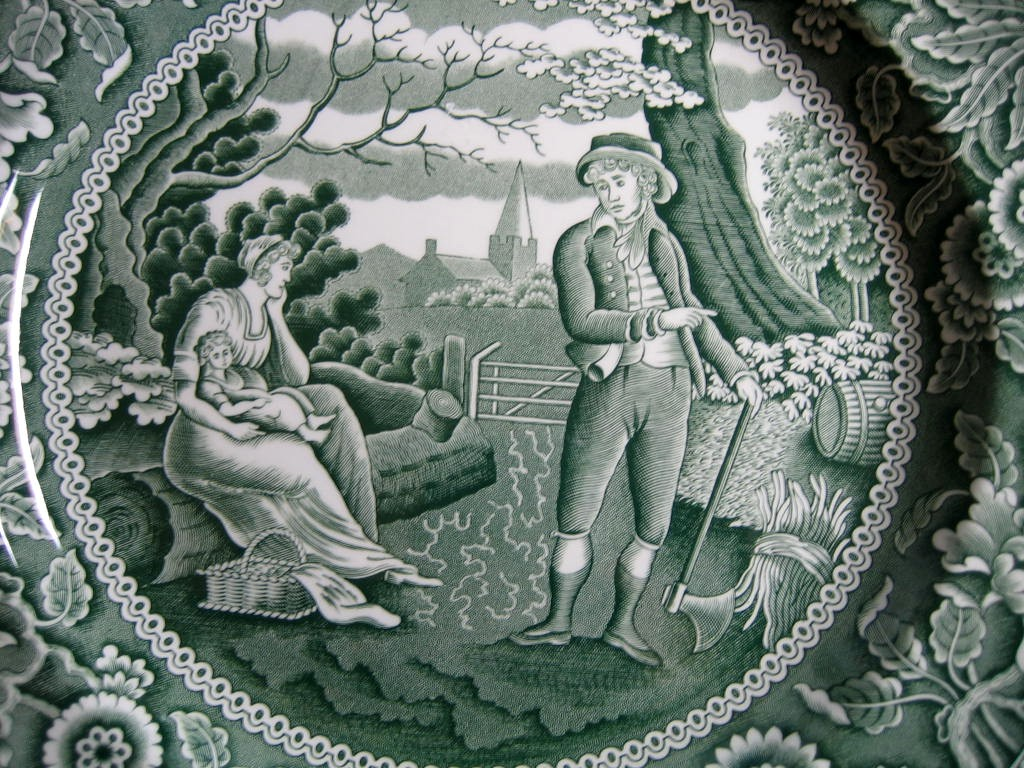 Hunter Green Toile Transferware Women Baby Calico Plate Center www.DecorativeDishes.net