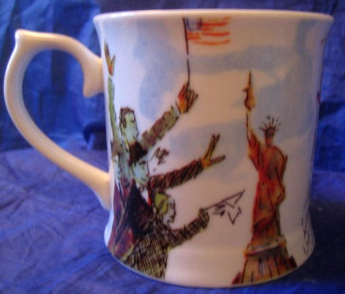 Whimsical New York Statue Liberty Flag Large Mug Center www.DecorativeDishes.net
