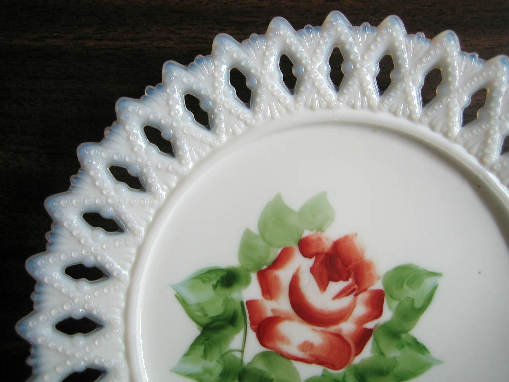 Antique Sweet Milk Glass Hand Painted Roses Lace Edge Pierced Plate