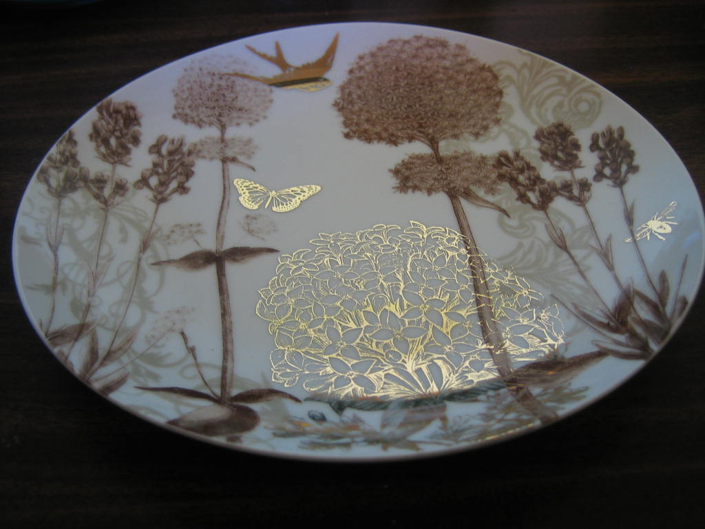Taupe Tan Botanical Bird Butterfly Bee Shiny Gold Plate Center www.DecorativeDishes.net