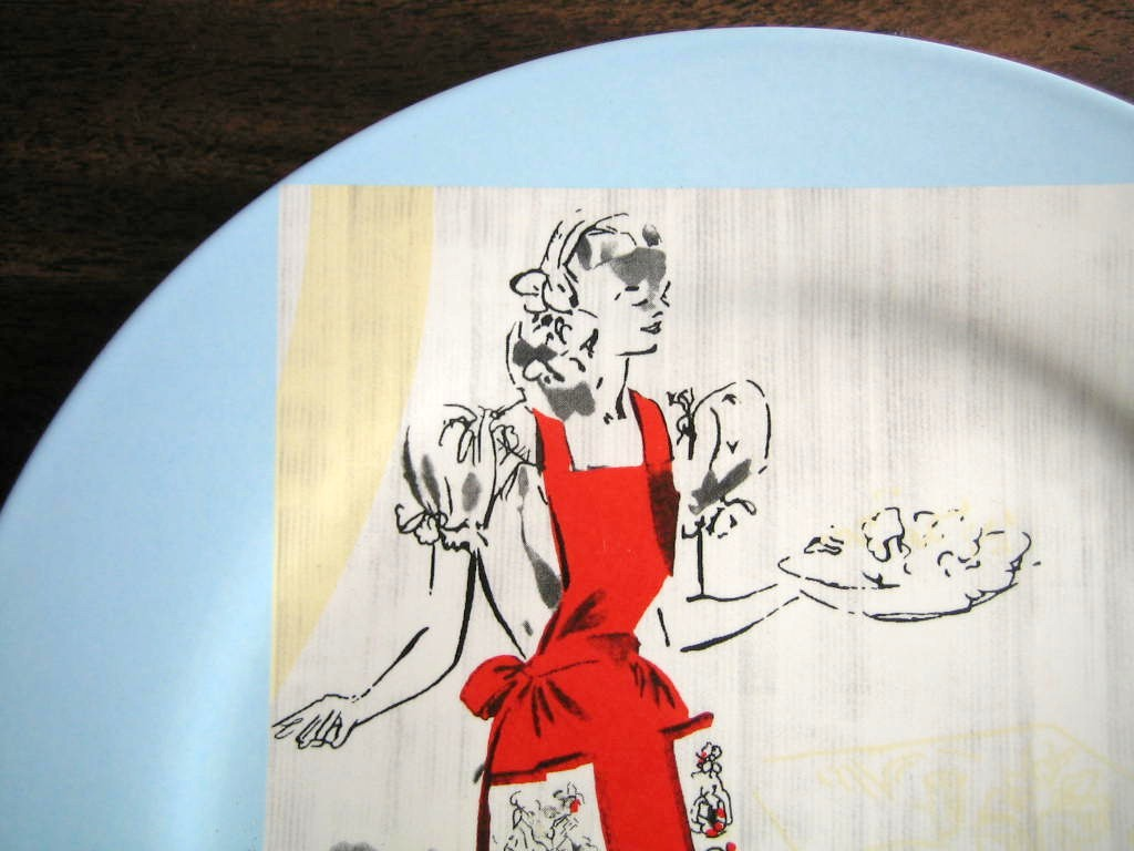 Retro Luncheon Hostess Apron Blue Retired Rosanna Plate