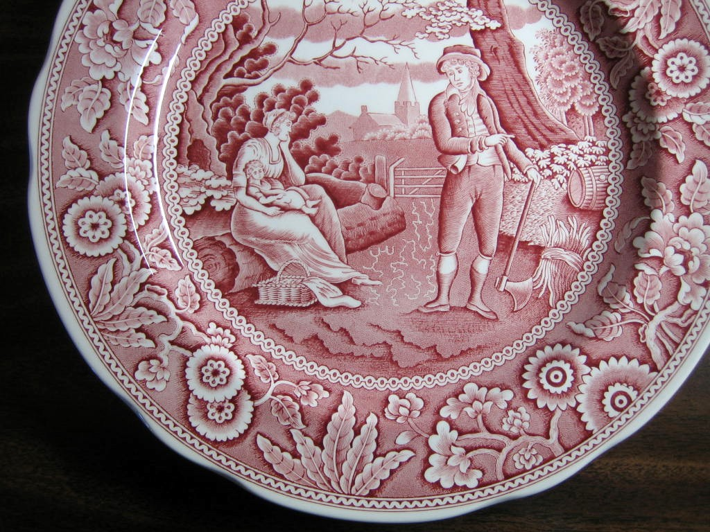 Red Pink Toile Transferware Women Baby Calico Plate Edge www.DecorativeDishes.net