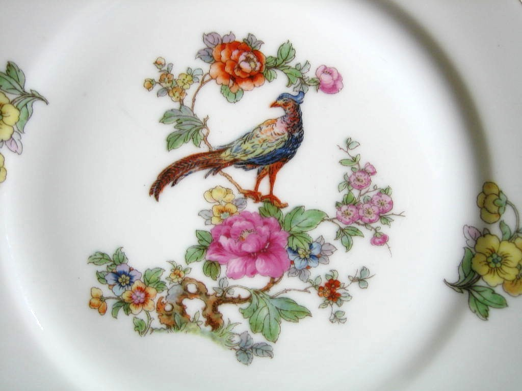 Vintage European Chinoiserie Exotic Bird Roses Small Decorative Plate Center www.DecorativeDishes.net