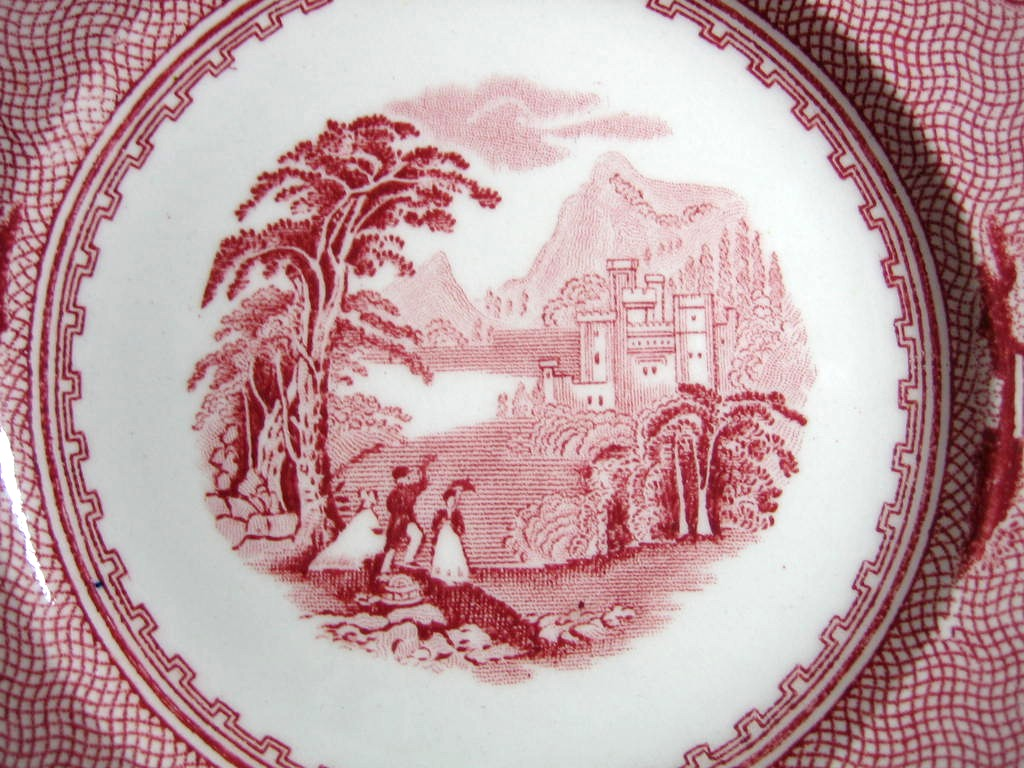 Red Pink Toile Transferware Old Castle Woman Parasol Vine Small Plate Center www.DecorativeDishes.net