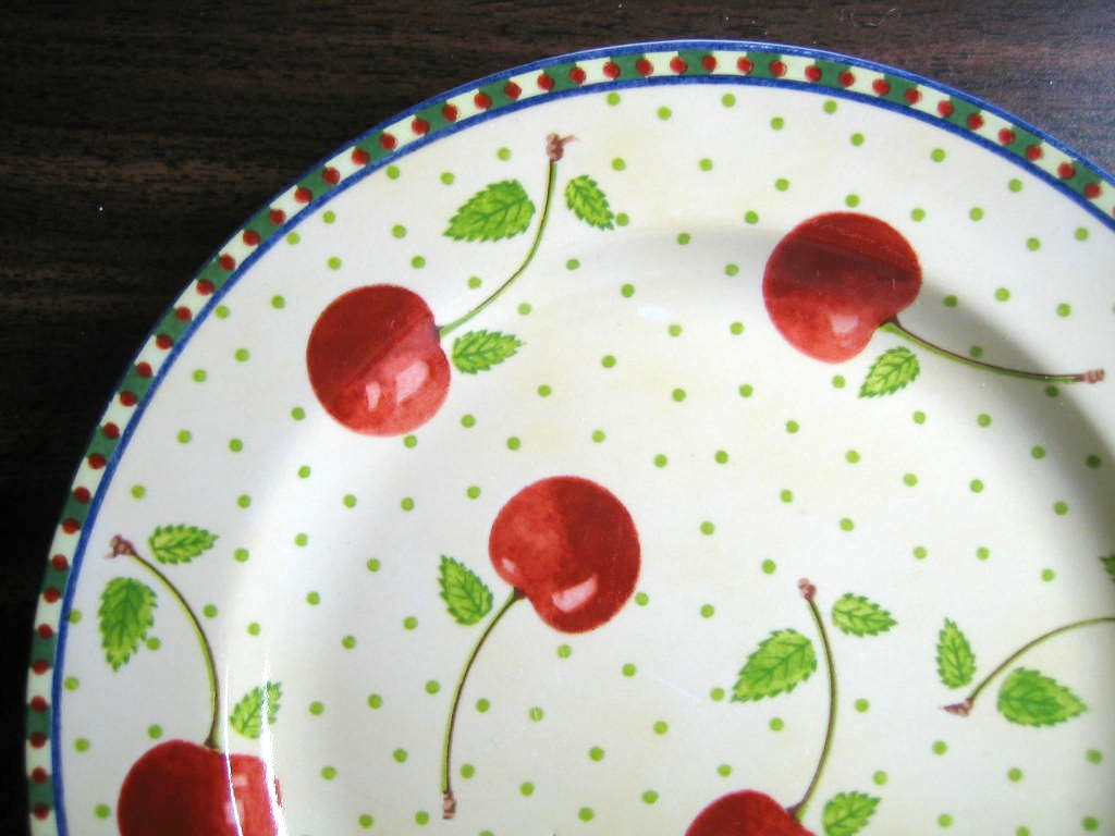 Red Cherries Green Leaves on Pale Yellow Edge Medium Plate Edge www.DecorativeDishes.net