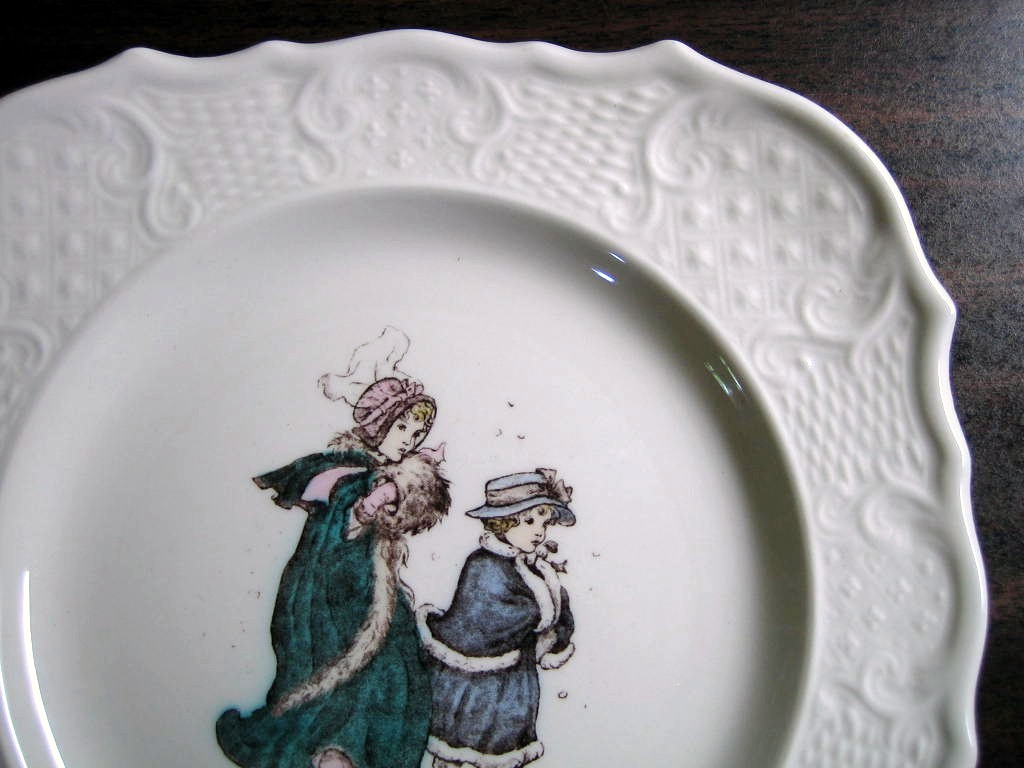 Vintage USA Winter Girls Kate Greenaway Square Scroll Edge Plate Edge www.DecorativeDishes.net