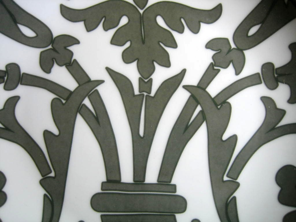 Gray on White Damask Exotic Wallpaper Scroll Decorative Plate A Center www.DecorativeDishes.net