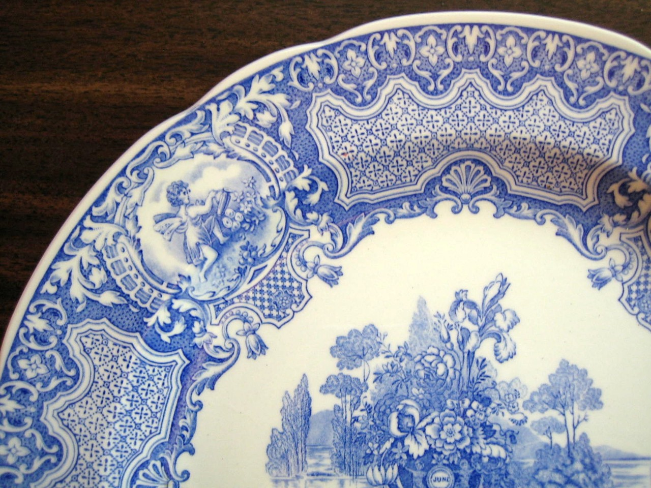 Blue Toile Transferware Cherub Medallions Exotic Garden Plate Edge www.DecorativeDishes.net