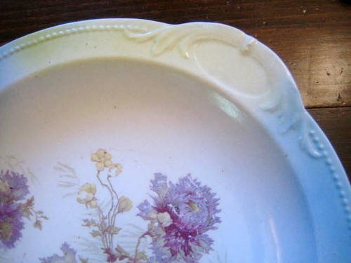 Antique Purple Yellow Mum Bowl Pastel Bowl with Handle Edge www.DecorativeDishes.net