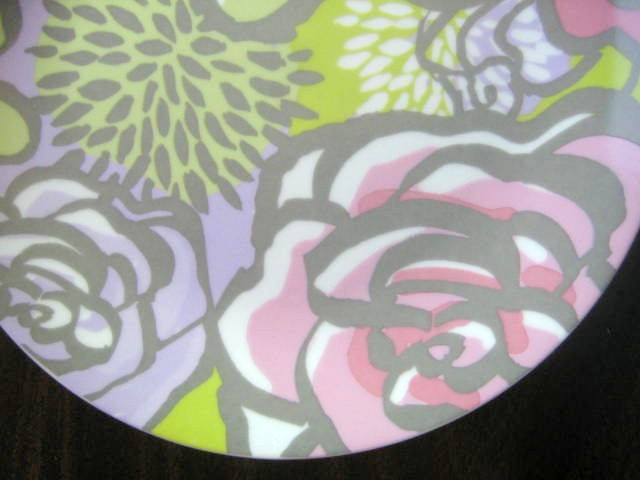 Chartreuse Lavender Pink Boho Chic Mod Rose Coupe Plate Edge www.DecorativeDishes.net