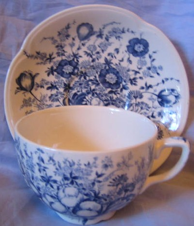 Blue Toile Transferware Tulip Vintage Cup and Saucer Center www.DecorativeDishes.net