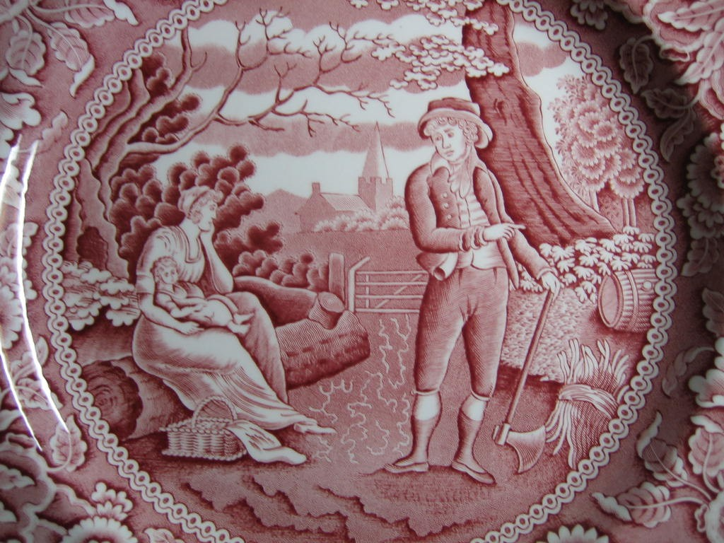 Red Pink Toile Transferware Women Baby Calico Plate Center www.DecorativeDishes.net