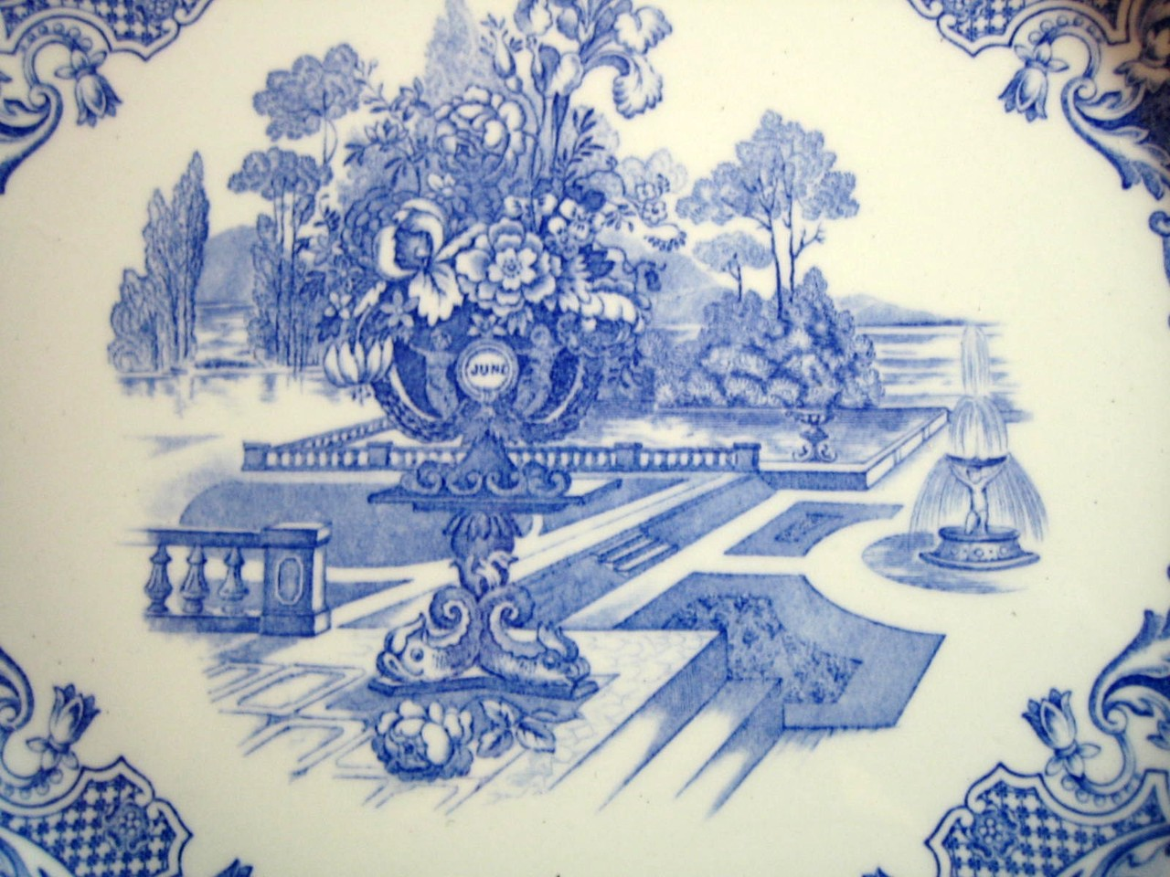 Blue Toile Transferware Cherub Medallions Exotic Garden Plate Center www.DecorativeDishes.net