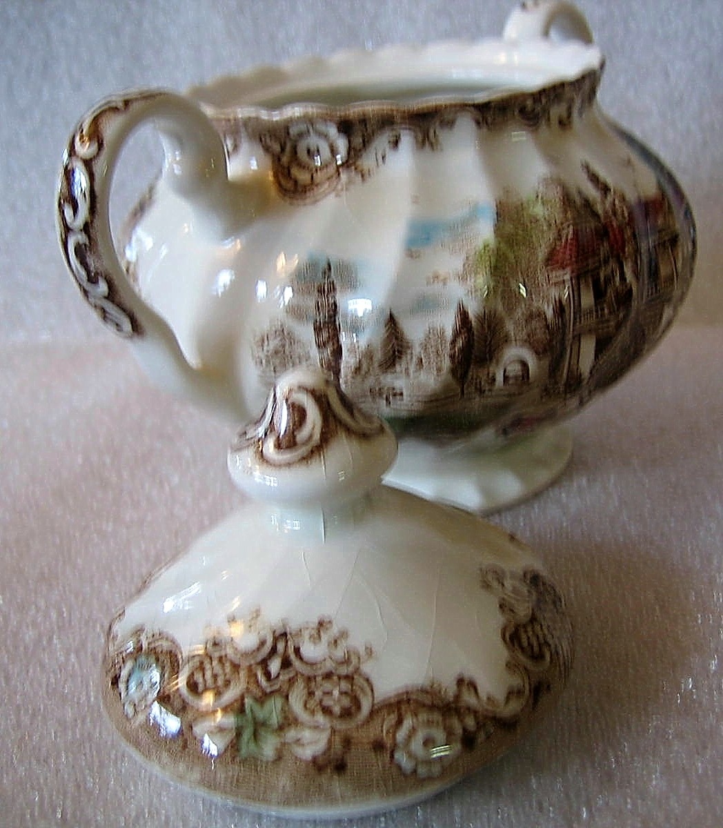 Brown Toile Hand Colored Hacienda Spanish Lady Guitar Donkey Lidded Bowl