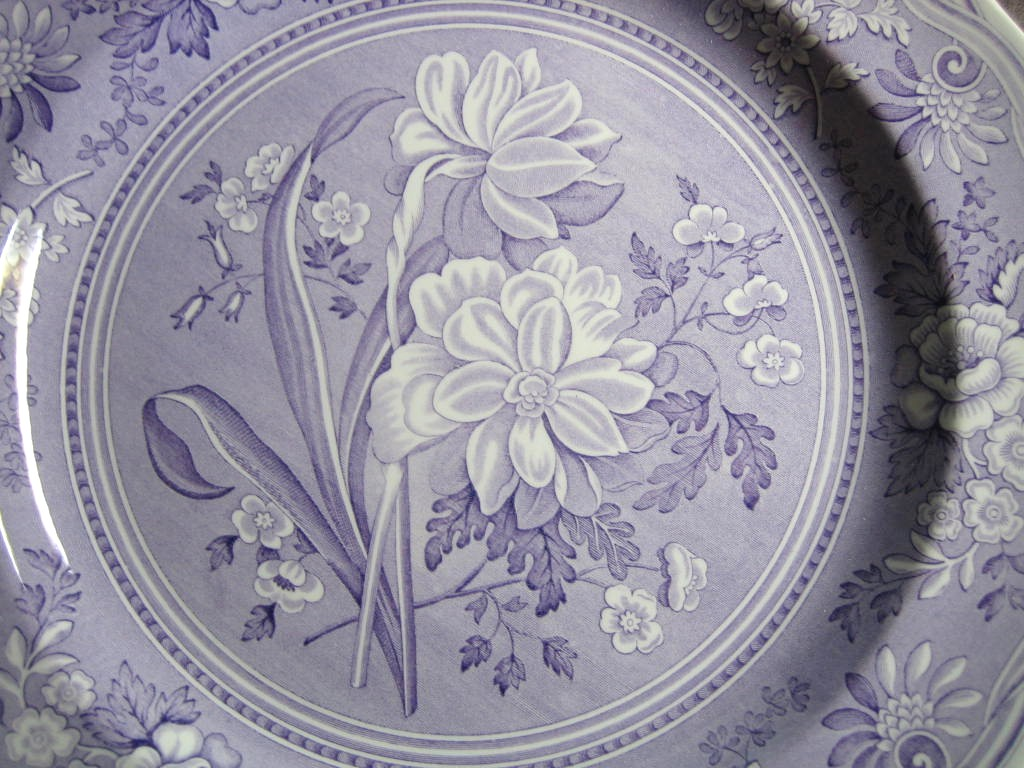 Lavender Purple Toile Transferware Daffodil Exotic Plate Center www.DecorativeDishes.net