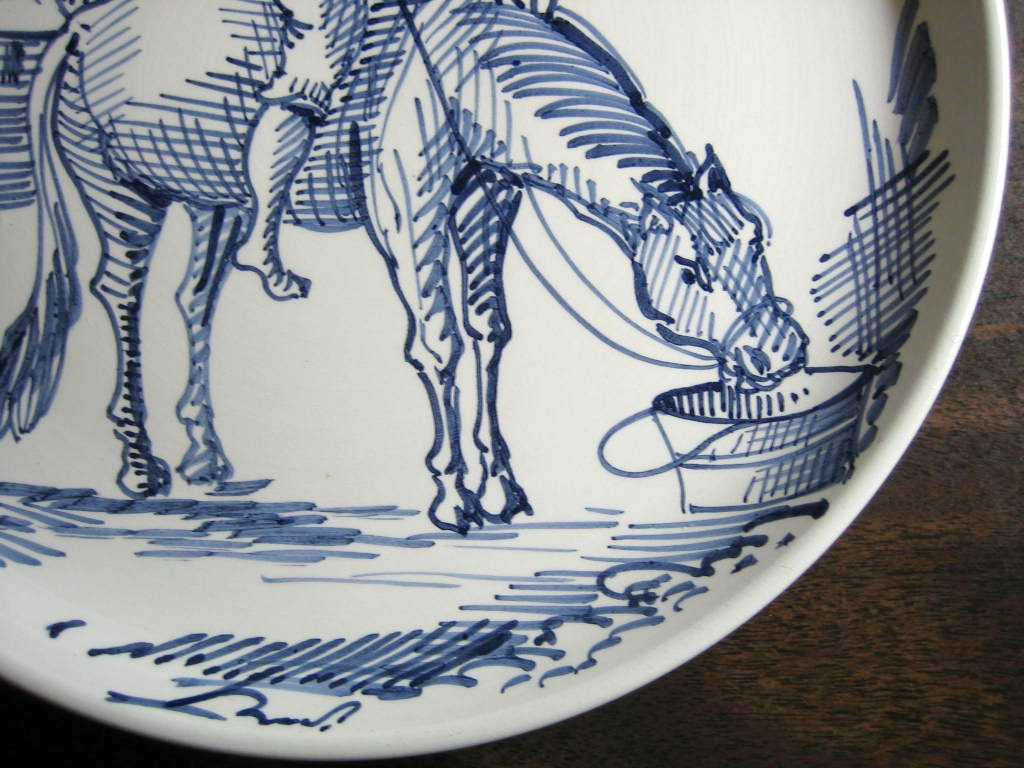 Blue Hand Drawn Boy with Horse Made in Italy Plate Ethan Allen