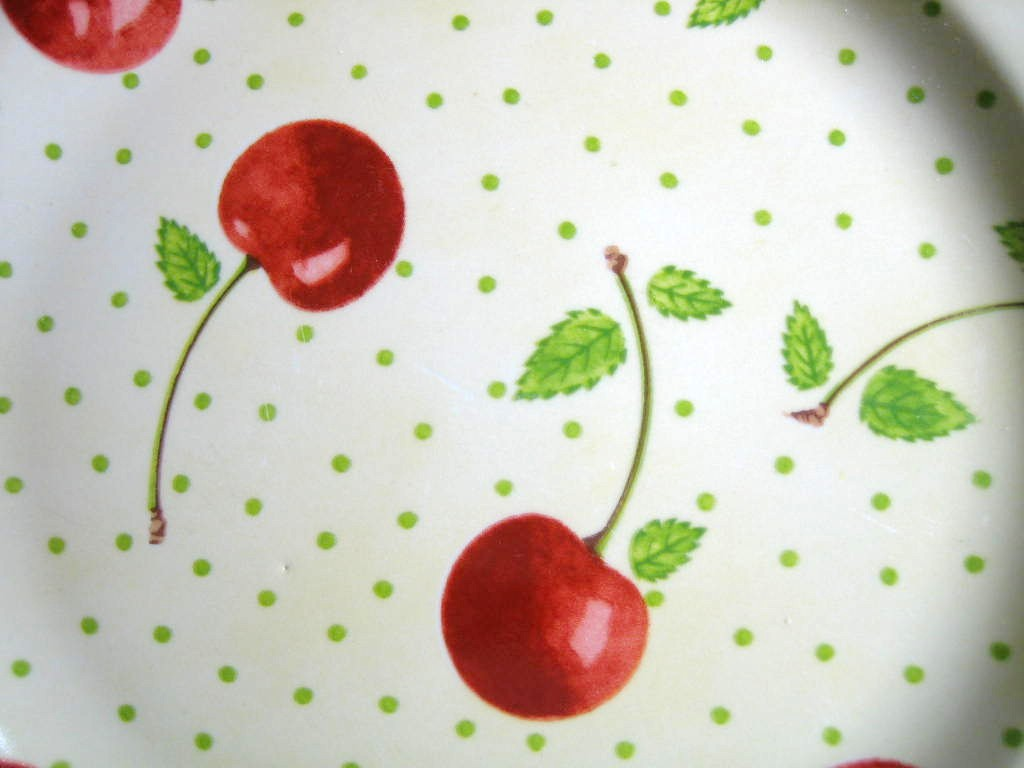 Red Cherries Green Leaves on Pale Yellow Edge Medium Plate Center www.DecorativeDishes.net