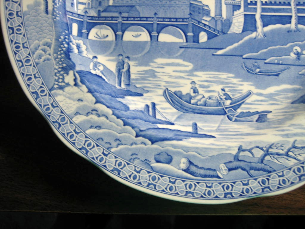 Blue Toile Transferware Exotic Palm River Temple Plate Edge www.DecorativeDishes.net
