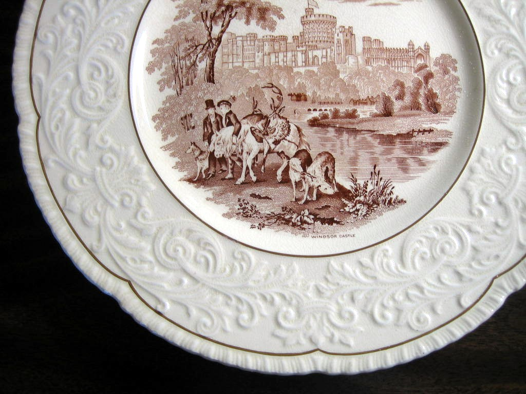 OLD Brown Toile Transferware Horses Dogs Castle Raised Scroll Gold Edge Plate Charger Edge www.DecorativeDishes.net