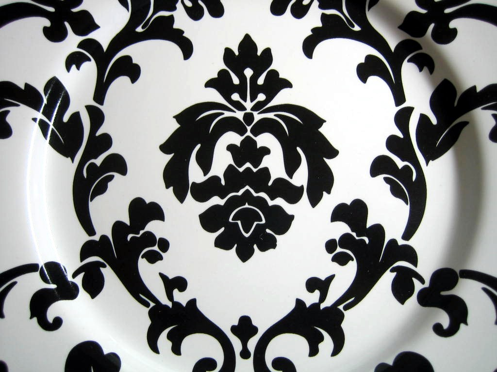 Black on White Damask Exotic Wallpaper Scroll Decorative Plate B Center www.DecorativeDishes.net