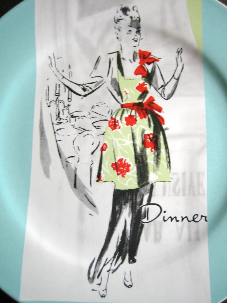 Retro Dinner Hostess Apron Aqua Retired Rosanna Plate Center www.DecorativeDishes.net