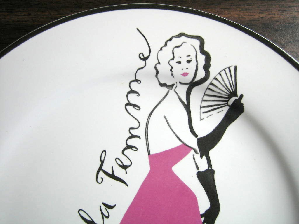 Vintage Rosanna Pink Gowned Lady Fan Paris Sights Plate Edge www.DecorativeDishes.net