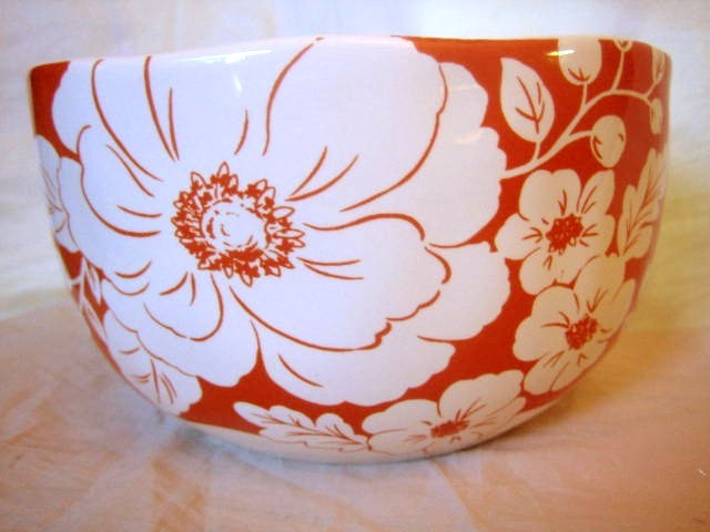 Orange White Hibiscus Hawaiiana Deep Bowl