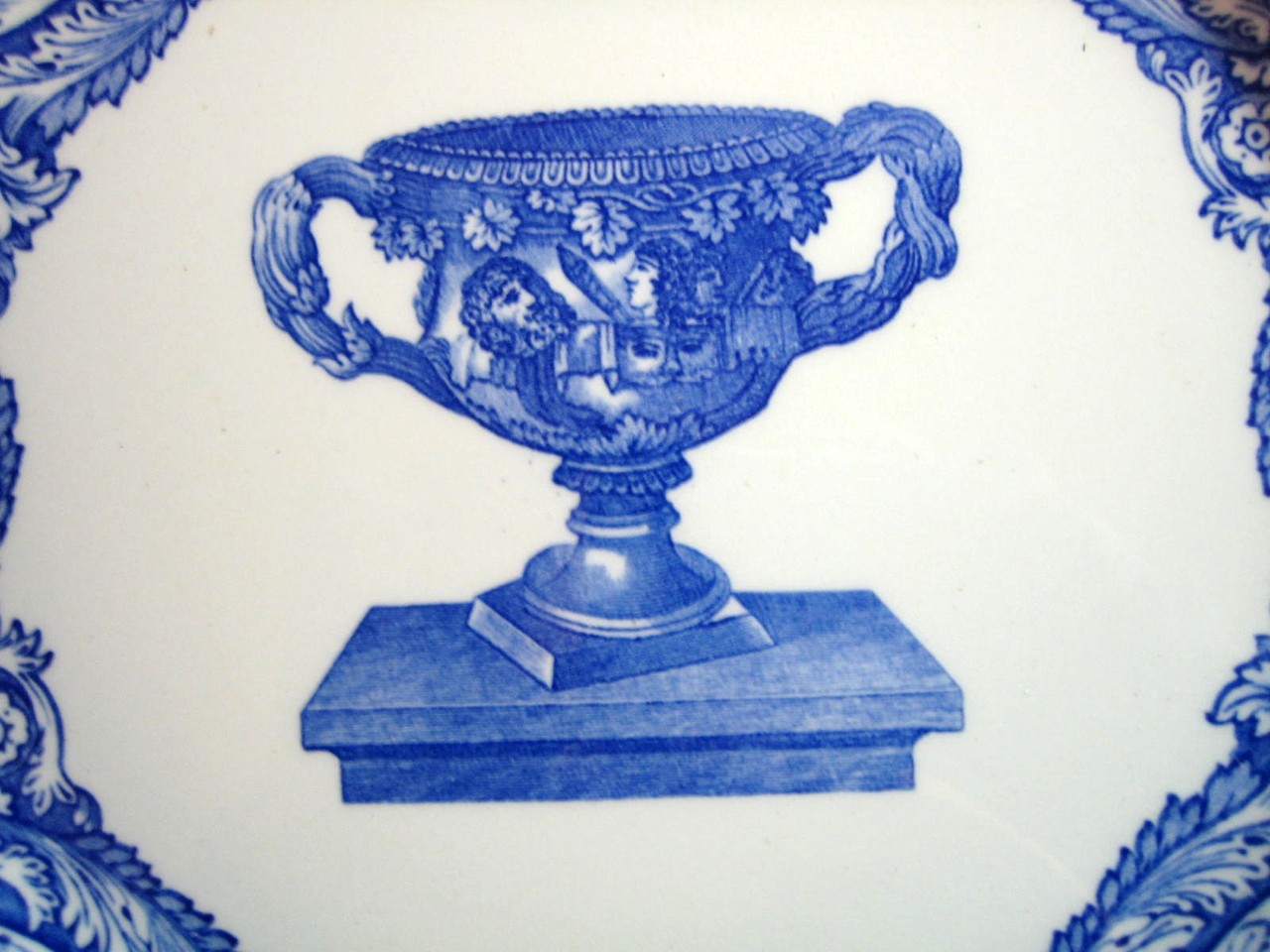 Blue Toile Transferware Grecian Loving Cup Scroll Edge Large Plate Center www.DecorativeDishes.net