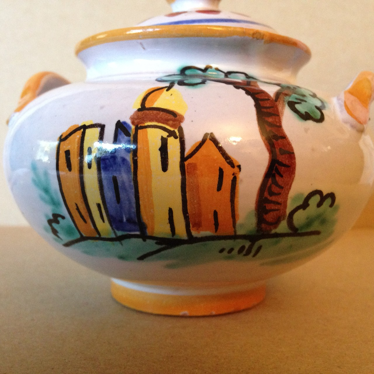 Hand Painted in Italy Warm Italian Village Lidded Handled Bowl Center www.DecorativeDishes.net